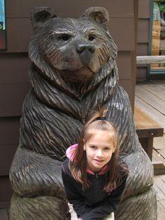 Hannah with a bear Muir Woods National Monument, Grandkids, Lion Sculpture, Bear, Statue, Bears, Sculptures, Sculpture