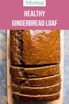 Healthy gingerbread Healthy gingerbread loaf recipe with whole wheat flour applesauce and simple maple syrup glaze. Fill your kitchen air with holidays spices and enjoy a slice guilt free. Healthy Cake, Healthy Dessert Recipes, Healthy Baking, Clean Eating Recipes, Delicious Desserts, Healthy Slices, Zucchini Muffins, Muffins Blueberry, Holiday Baking