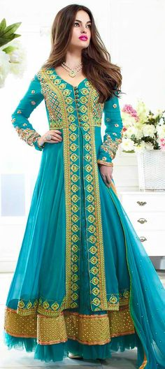 423049: ROYAL STYLING FOR WEDDINGS & PARTIES -  Get this summer style at flat 10% off.  #Onlineshopping #Anarkali #turquoise