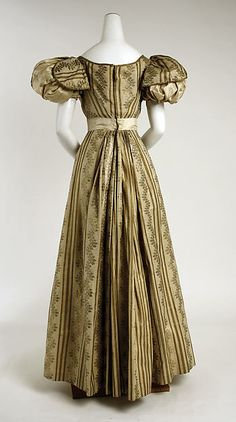 Ball gown Date: ca. 1828 Culture: British Medium: silk Dimensions: Length at CB: 48 in. (121.9 cm)