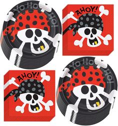 Arrr, Matey! Celebrate your pirate with this Set of Pirate Dessert Plates and Napkins! Add decorative tableware to your party tables for birthdays, baby showers, even for Halloween fun! Serve appetizers, finger foods, and desserts for up to 16 guests. Plus, paper tableware makes cleanup a breeze! #piratethemed #partydecor #amazon #gentlemanpirateclub #partyflavors Pirate Party Supplies, Pirate Party Favors, Glow Party Supplies, Pirate Theme, Red And Black Background, Party Giveaways, Birthday Plate, Beverage Napkins, Free Fun