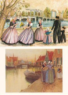 Vintage Dutch Costume Postcards Volendam #NoordHolland #Volendam