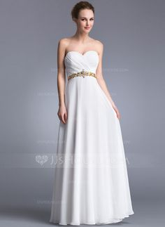 A-Line/Princess Sweetheart Floor-Length Chiffon Prom Dress With Ruffle Beading (017041058)