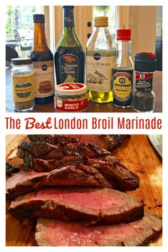 BEST-EVER LONDON BROIL MARINADE - My go-to for the BEST London Broil! A favorite tried & true recipe! Just a few few simple ingredients I always have in hand. #LondonBroil #Marinade #Best #Recipe London Broil Marinade, London Broil Steak, Grilled London Broil, Beef Marinade, Steak Marinades, Tri Tip Marinade, Grilling Recipes, Meat Recipes, Cooking Recipes