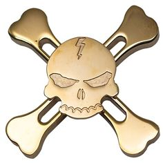 Brass Skull and Crossbones Fidget Spinner //Price: $4.95 & FREE Shipping // #fidgetspinner