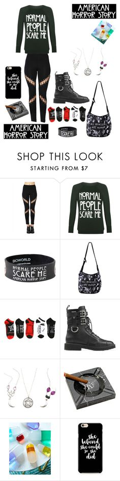 """American Horror Story Fangirling Outfit"" by adriana4-life on Polyvore featuring WearAll, Giuseppe Zanotti and Jonathan Adler"