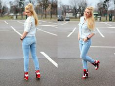 Made My Day: jeans total look Essay Examples, Sporty, Day, Jeans, Outfits, Style, Fashion, Swag, Moda