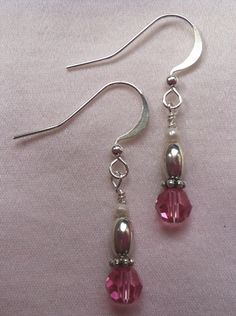 Birthstone Earrings with Swarovski Crystals, Sterling Silver and Freshwater Pearls