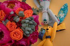 Pink & orange Wedding bridal bouquet with peons, roses, succulent