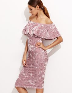 Womens Ladies Pink Off Shoulder Ruffle Frill Crushed Velvet Bodycon Party Dress Stunning Glam  Description  Fabric: Fabric has some stretch  Season: Fall  Type: Pencil  Pattern Type: Plain  Sleeve Length: Short Sleeve  Color: Pink  Dresses Leng...