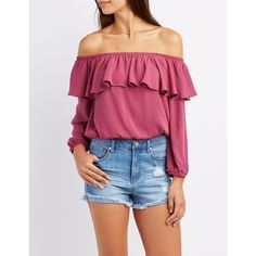 Charlotte Russe Ruffle Off-The-Shoulder Top ($24) ❤ liked on Polyvore featuring tops, blouses, mauve, off shoulder blouse, flounce tops, flutter-sleeve top, off the shoulder blouse and off shoulder ruffle blouse