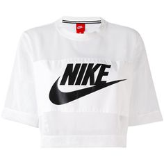 Nike mesh swoosh crop top (2,290 INR) ❤ liked on Polyvore featuring tops, nike and white