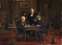 Les Joueurs d'échecs, 1876, huile sur toile, 29.8 cm × 42,6 cm, Metropolitan Museum of Art, New York  Thomas Eakins