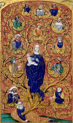 Marie occupe une place importante dans l'image ; Jesse et ses descendants sont de la même taille.