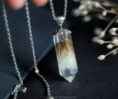 Dandelion Crystal necklace terrarium dried flowers resin jewelry herbarium botanical jewelry crystal pendant make a wish Christmas gift boho by sincereworkshop on Etsy
