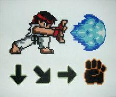 Street Fighter: Ryu Hadouken Perler Wall   via Etsy.