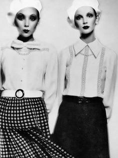 Marie Helvin & Sue Baloo by Barry Lategan _ Vogue Italia, March 1972.