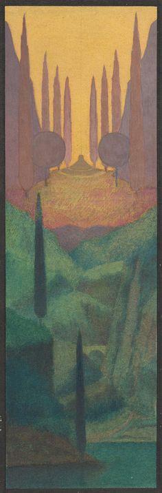 Herbert E. Crowley (British, London 1873–1939 Zurich), A Monument in a Mountainous Landscape, 1911–24, Watercolor