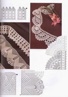 Lace Edging Crochet Patterns - Beautiful Crochet Patterns and Knitting Patterns Filet Crochet, Crochet Lace Edging, Crochet Motifs, Crochet Borders, Crochet Diagram, Crochet Stitches Patterns, Crochet Chart, Thread Crochet, Crochet Doilies