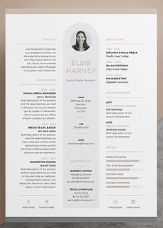 Resume / CV Template - Elsie - Our design, 'Elsie', contains a professional compact design with matching cover letter for those looking for a high impact presentation. Everything is editable including… Design Typo, Graphic Design Resume, Creative Resume Design, Interior Design Resume, Design Design, Modern Design, Media Design, Resume Layout, Resume Cv