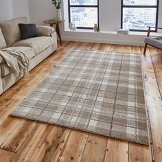 August Grove The Verveine Sand Rug of neutral tartan rugs from August Grove is made from polypropylene and is an incredibly dense and wonderful quality. Rug Size: Rectangle 120 x High Pile Rug, Machine Made Rugs, Sofa Throw, Home Additions, White Rug, Large Rugs, Grey Rugs, Rugs Online, Modern Rugs