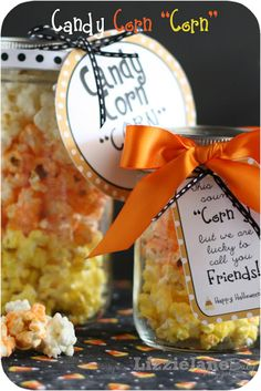 "Candy Corn ""Corn"" recipe and printable.  Festive Halloween popcorn that will make a great gift for neighbors and friends."