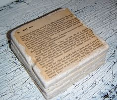 Coolest mens gift!  James Bond Coaster Set!  Made from actual vintage book pages on tumbled stone!
