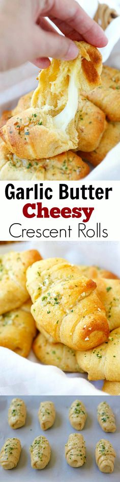 "I made these door a potluck and they were yummy! best when fresh out off oven though because of the cheese.""Garlic Butter Cheesy Crescent Rolls - amazing crescent rolls loaded with Mozzarella cheese and topped with garlic butter, takes 20 mins! Think Food, I Love Food, Good Food, Yummy Food, Crescent Roll Recipes, Crescent Rolls, Pilsbury Crescent Recipes, Pillsbury Recipes, Cresent Roll Appetizers"
