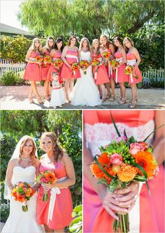 coral bridesmaid dresses #coralbridesmaids #brightweddingparty #weddingchicks http://www.weddingchicks.com/2014/01/15/boaventura-de-caires-winery-wedding-2/