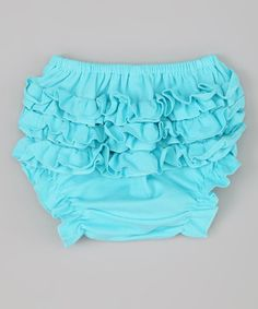 Take a look at this Turquoise Ruffle Diaper Cover - Infant by Swank Kouture on #zulily today!