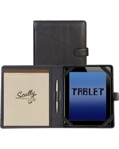 Scully Black Leather Tablet Padfolio$111.00