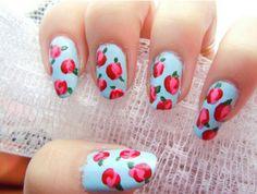 Blue/pink flower nails