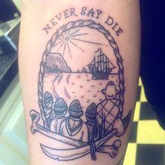 """Never say die"" a Goonies tattoo for Martin. #tattoo #thegoonies #sailorroman"