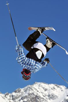 Freestyle skier in mid air.