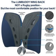 CONTOUR LUMBUDDY WINGBACK. VENTED BACK REST CUSHION. CONFORMING RESPONSIVE AND SUPPORTIVE