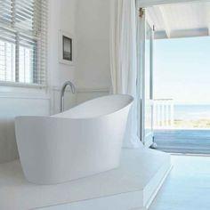 Beautifully Modern Slipp Freestanding Bath From BC Designs - Comes with A Waste & 10 Year Guarantee. Family Bathroom, Small Bathroom, Bathrooms, Art Deco Bathroom, Bathroom Designs, Bathroom Ideas, Roll Top Bath, Asymmetrical Design, Bath Design