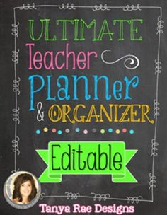 *****UPDATED FOR 2015-2016 SCHOOL YEAR*****This planner has been the number one tool in my Teacher Organization toolbox for the past 7 years and it's a BEST SELLER on the TOP 100 PRODUCTS LIST!All of my planners are EDITABLE and once you purchase one, you will receive ALL updates of that version for FREE!* by TpT Teacher-Author Tanya Rae Designs