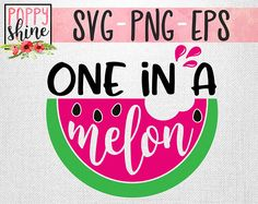 One In A Melon svg png eps Cutting Files and Designs for Silhouette Cameo and Cricut Explore Air Cutting Machines. Commercial Use License Included! One In A Million, Watermelon, Summer, Summertime, Beach, Ocean, Beach Hair, Beach Life, Vacation, Southern, Country, Cute SVG, Funny SVG, DIY, SVG Quote, SVG Sayings, Girl Designs, Pretty SVG, SVG Design, SVG File, Mug Design, Shirt Design, Cutting Designs, Cutting File, Cricut Air, Small Businesses