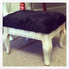 Faux bear fur studded rustic ottoman Dear Alice Buffalo, MN Christmas / winter Decor