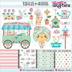 flower shop clipart flower shop graphics by thehappygraphics