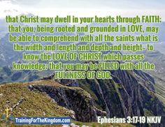 Verse of the Day -  Ephesians 3:17-19 NKJV - FILL ME UP LORD!