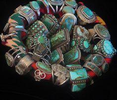 gregthorneturquoise:    Basket of Southwest style turquoise bracelets by Greg Thorne.    ++ GREG THE LEGEND ++