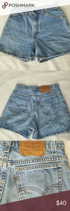 """[Levis] High Waist *Mom*Jean Shorts Light wash, vintage-ish style jean shorts. In great condition! Can cuff the leg hems or even cut off shorter so theres fraying. Size on tag:? 6 petite. Measurements: waist 13"""" inseam 3.5"""" and rise 11""""  Reasonable offers are always welcome! Would love to hear from you! Thanks for looking! Levi's Shorts Jean Shorts"""