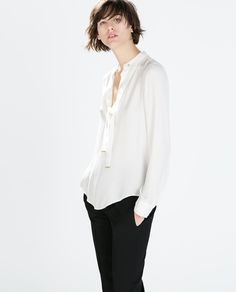 Image 2 of BLOUSE WITH BOW from Zara