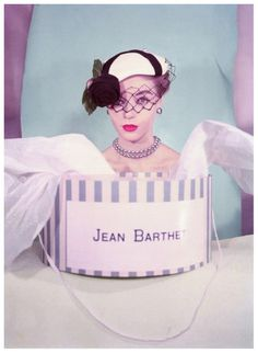 Joan Olsen wearing a hat by Jean Barthet, photo by Regina Relang, Paris, 1953