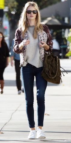 Rosie Huntington-Whiteley (model): bomber jacket + skinny jeans + white sneakers