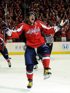 Alex Ovechkin #8 of the Washington Capitals celebrates as it is 13 hrs to gametime!