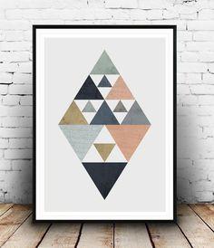 Scandinavian poster, Triangle poster, Diamond print, Watercolor art, Abstract print, Geometric print, Nordic design, Home decor, Minimalist by Wallzilla on Etsy https://www.etsy.com/listing/226498444/scandinavian-poster-triangle-poster: