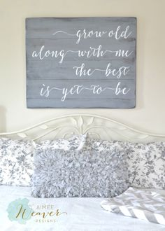 """""""Grow old along with me"""" Wood Sign {customizable} Grow old along with me, the best is yet to be. Unique hand-painted sign made from reclaimed barn wood by Aimee Weaver Designs. Homemade Home Decor, Diy Home Decor, Pallet Crafts, Wood Crafts, Diy Crafts, Diy Rangement, Tips & Tricks, Diy Signs, My New Room"""