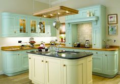 turquoise cabinets wood block counters